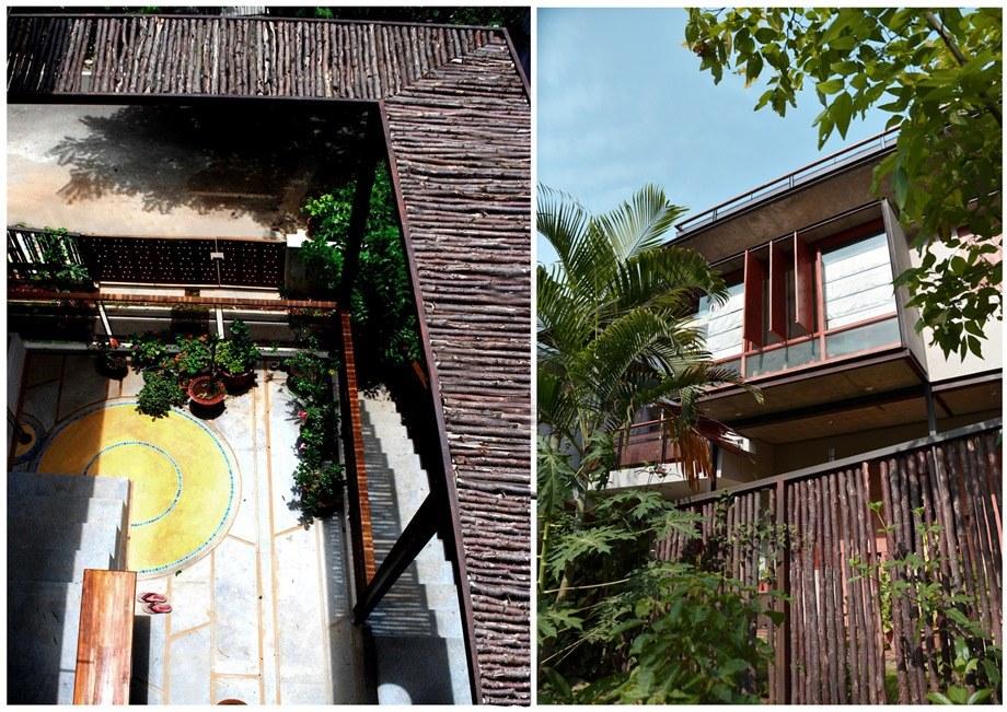 หลังคาและรั้วบ้านไม้ธรรมชาติ
