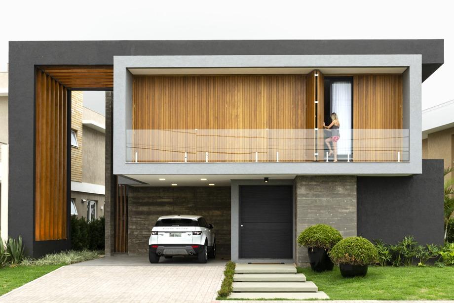 บ้านคอนกรีตฟาซาดบานไม้