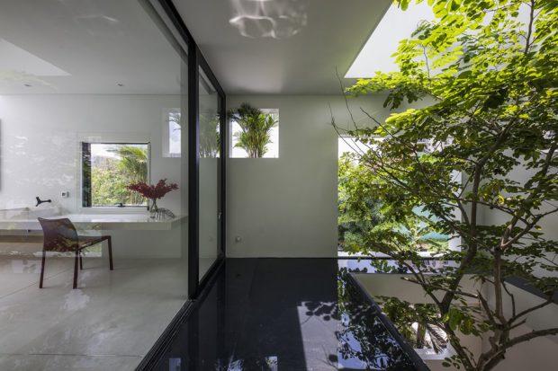 ปลูกต้นไม้ในช่องว่างกลางบ้าน