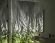 ห้องน้ำผนังกระจกมีพื้นที่ปลูกต้นไม้