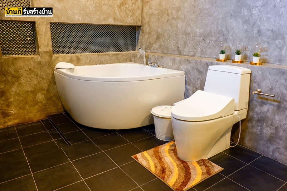 ห้องน้ำทาสีปูนขัดมัน BAANPOON LOFT