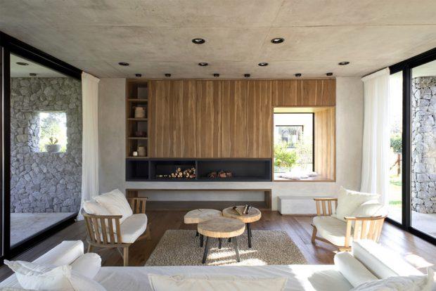 ห้องนั่งเล่นคอนกรีตตกแต่งไม้