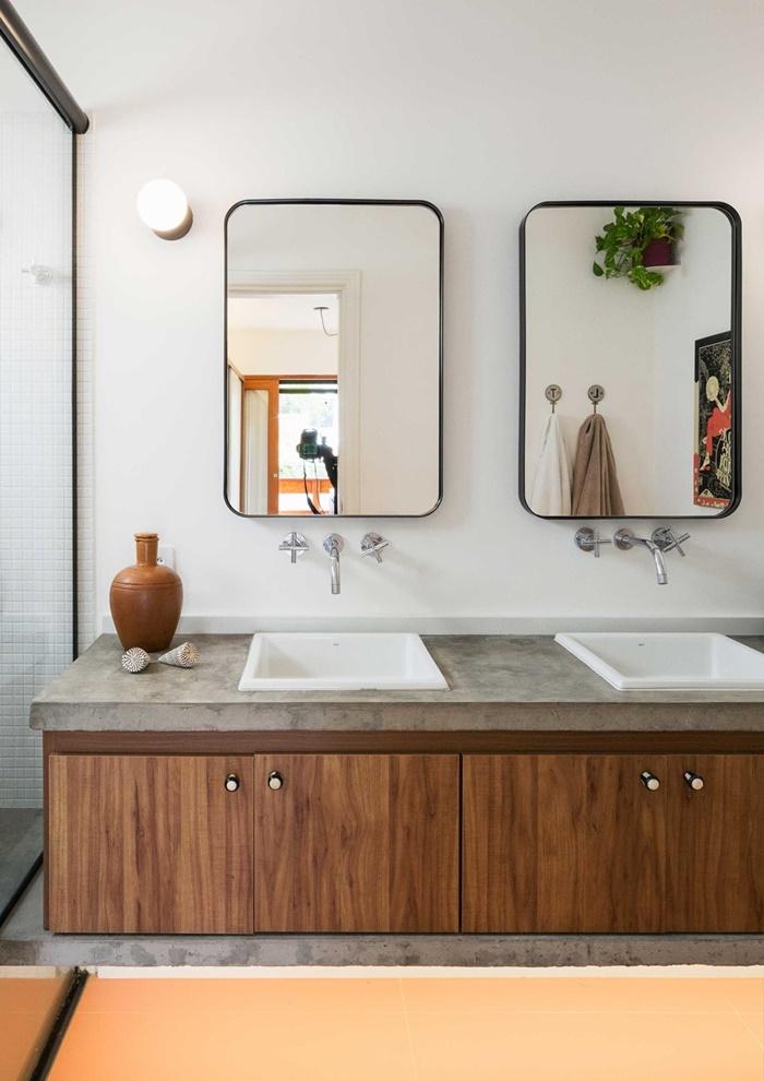 ห้องน้ำเคาน์เตอร์คอนกรีตผสมไม้