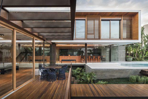 บ้านโมเดิร์นโครงสร้างเหล็ก คอนกรีต ไม้