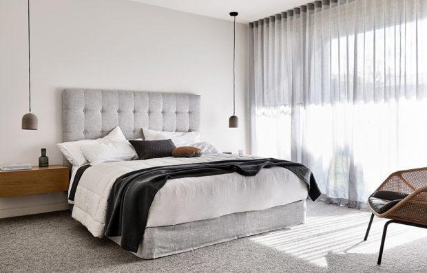 ห้องนอนโทนสีขาว เทา ดำ