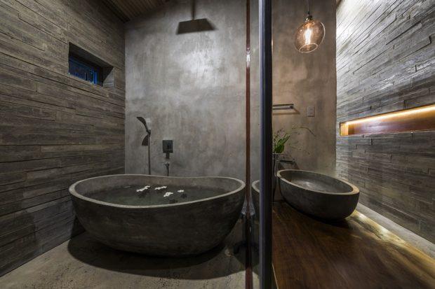 ห้องน้ำและอ่างอาบน้ำปูนเปลือย