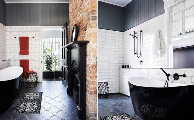พื้นห้องน้ำสีดำ