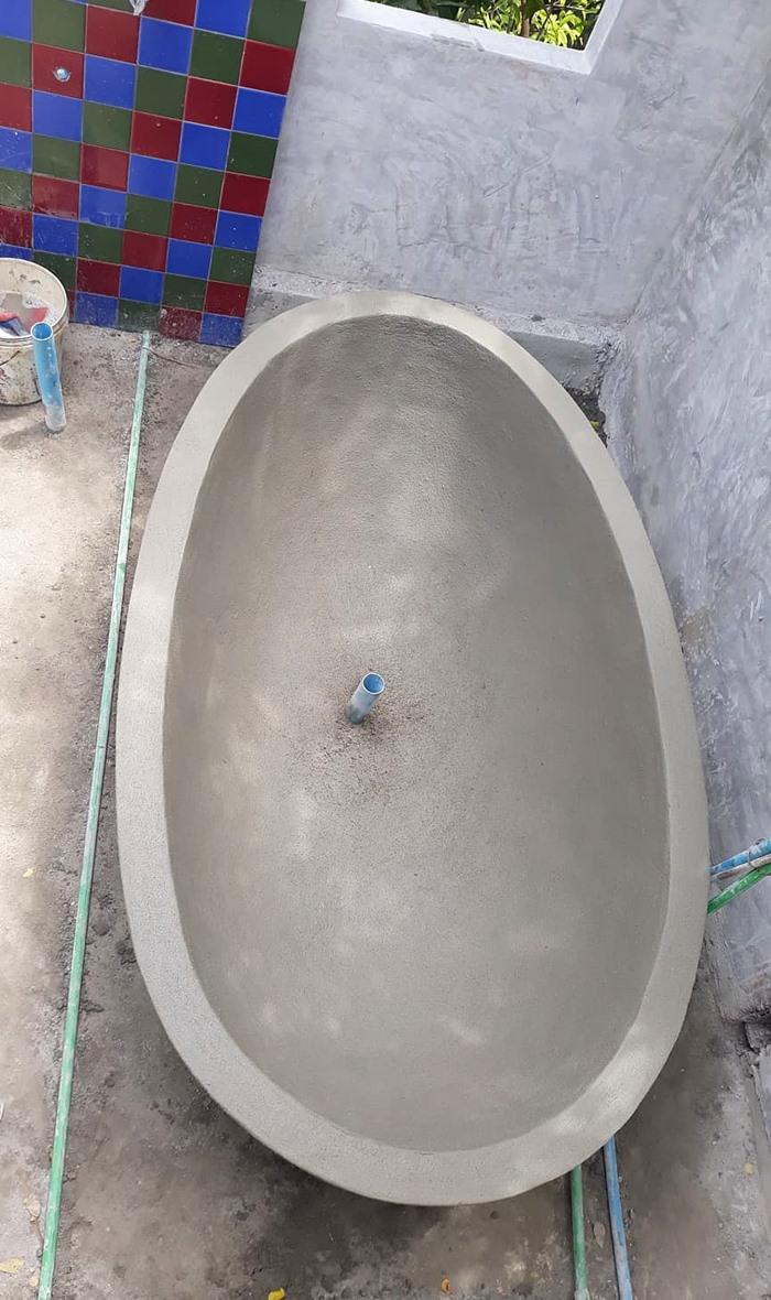 DIY อ่างอาบน้ำคอนกรีต