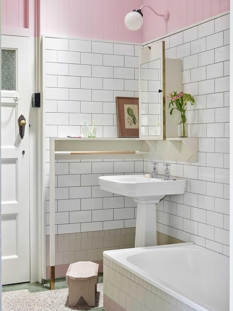 ห้องน้ำโทนสีขาวชมพู