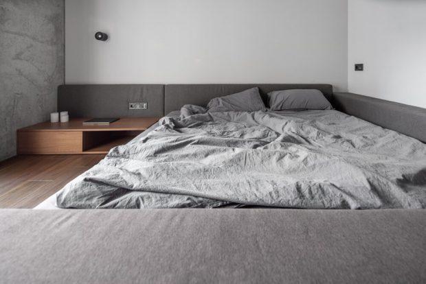 เตียง floor bed ชุดเครื่องนอนสีเทา