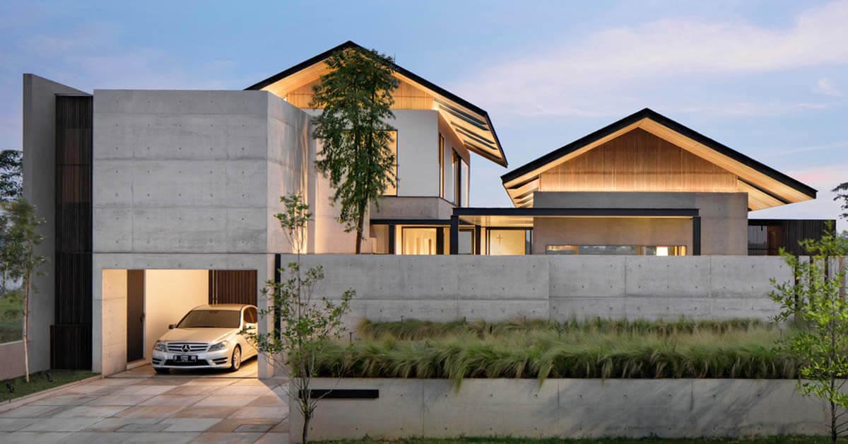 บ้านคอนกรีตโมเดิร์นสไตล์ญี่ปุ่น
