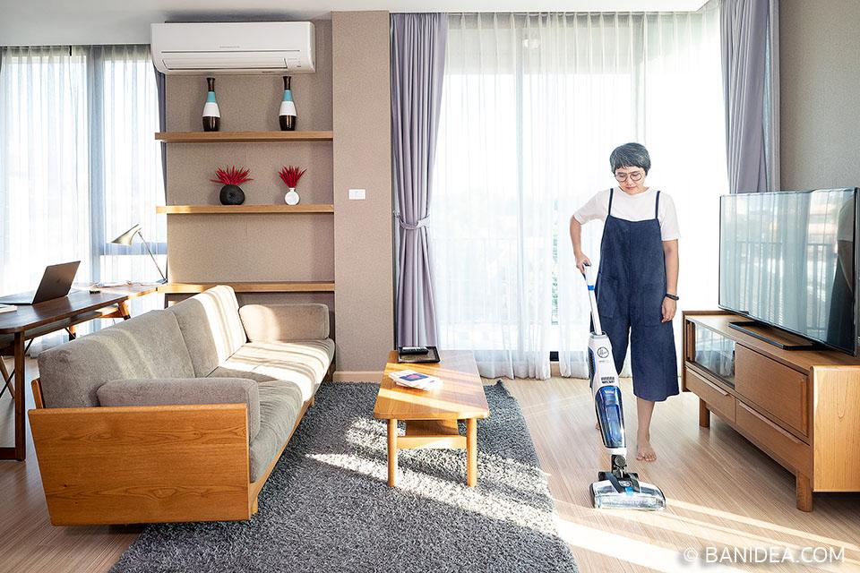 ทำความสะอาดพื้นบ้าน