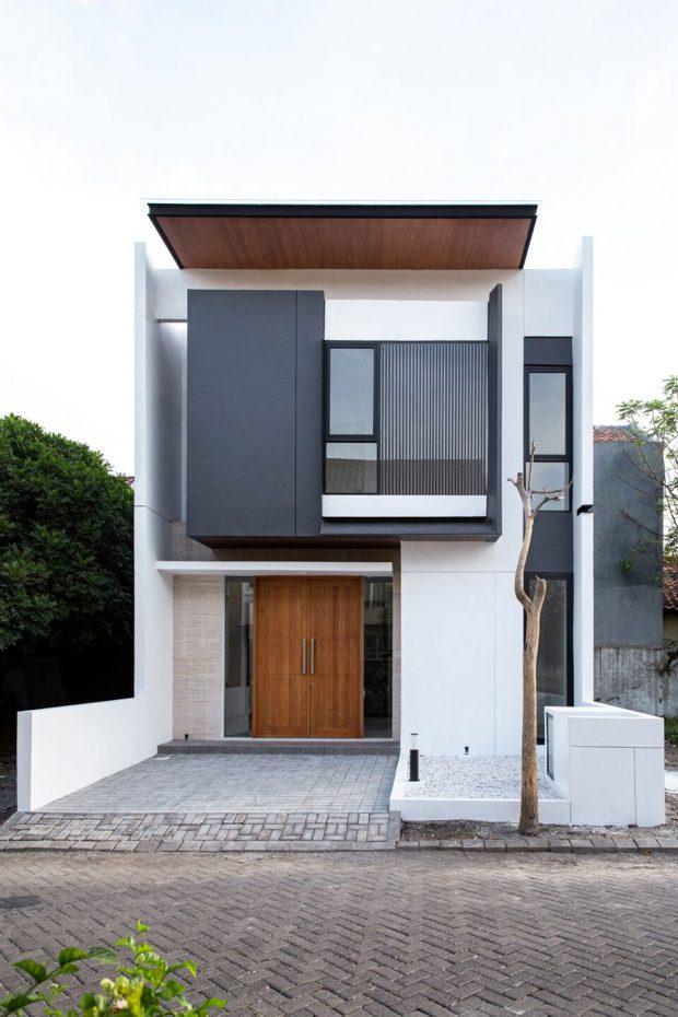 บ้านโมเดิร์นโทนสีขาวดำน้ำตาล