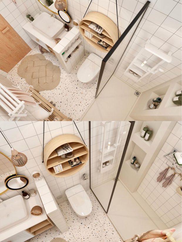 ห้องน้ำสไตล์โมเดิร์นสีขาว