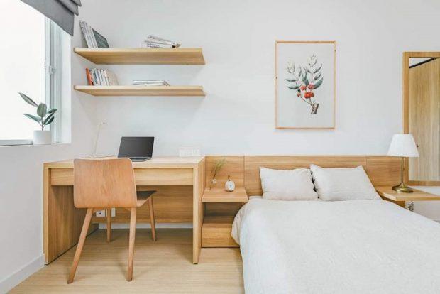 ห้องนอนบิลท์อินโต๊ะทำงานตรงหัวเตียง