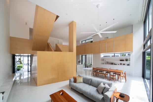 บ้านแบบ open plan จุดเด่นอยู่ที่บันได