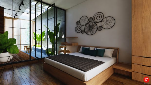 ห้องนอนผนังกระจกมีสวนส่วนตัว