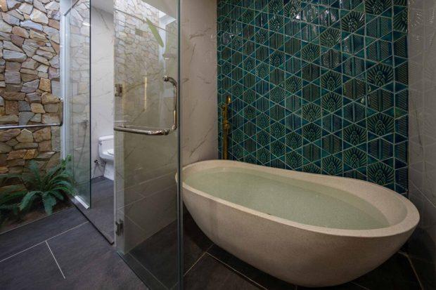 ห้องน้ำตกแต่งกระเบื้องสีเขียว