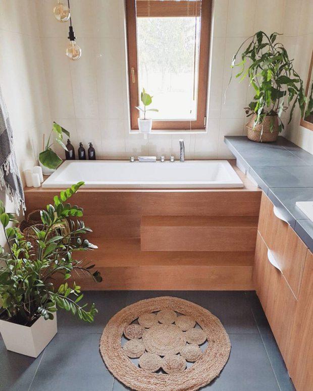 อ่างอาบน้ำตกแต่งไม้