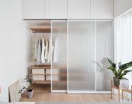 ตู้เสื้อผ้าบิลท์อินบานกระจกโปร่งแสง