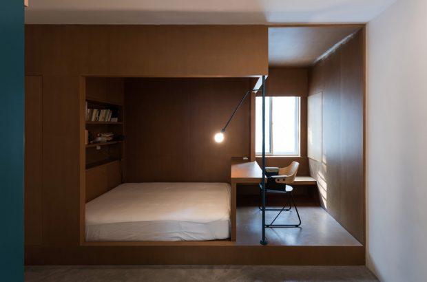 ห้องนอนตกแต่งไม้เรียบง่าย