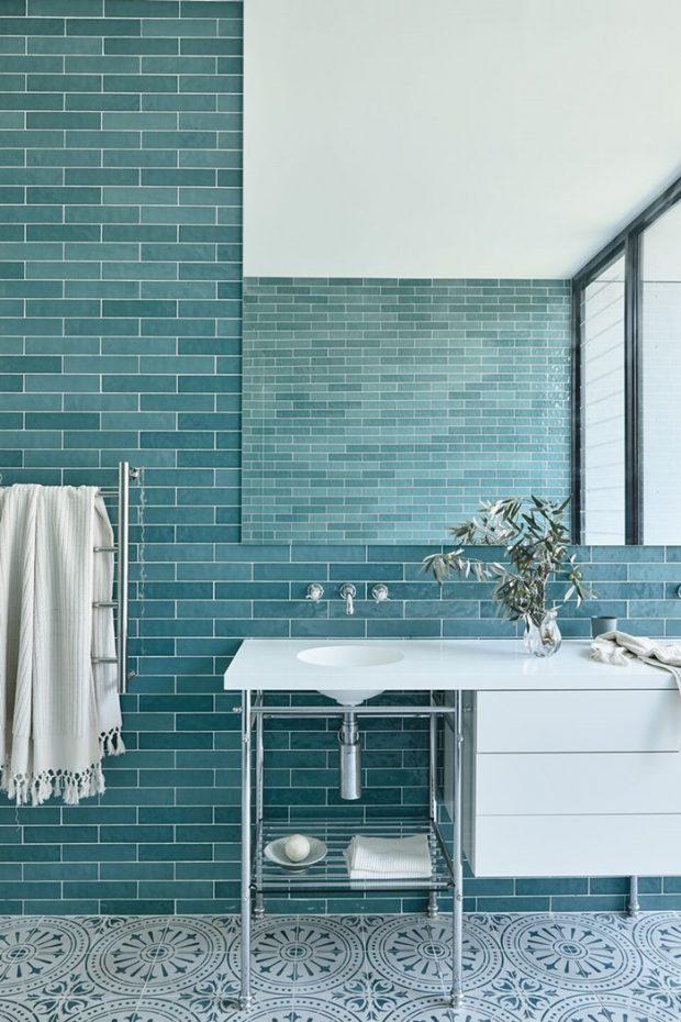 ห้องน้ำตกแต่งโทนสีฟ้า