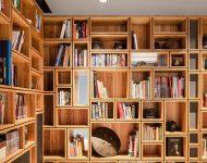 ตู้หนังสือบิลท์อินเต็มผนัง