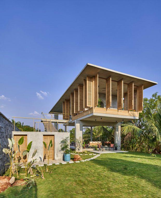บ้านพักเขตร้อนวัสดุธรรมชาติ