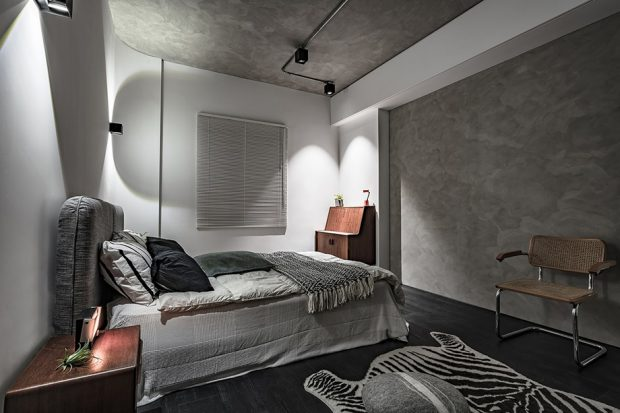 ห้องนอนตกแต่งกระจกและไฟสวยๆ