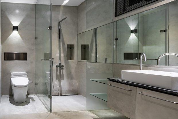 ห้องน้ำตกแต่งกระจกและไฟสวยๆ
