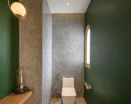 ห้องน้ำโทนสีเขียวเทา
