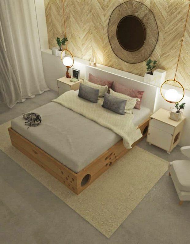 เตียงนอนคนที่มีฟังก์ชันบ้านแมว