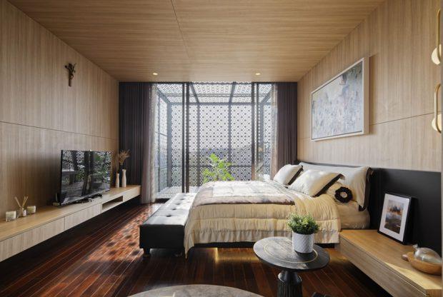 ห้องนอนประตูบานสไลด์ต่อเชื่อมมุมนั่งเล่นส่วนตัว