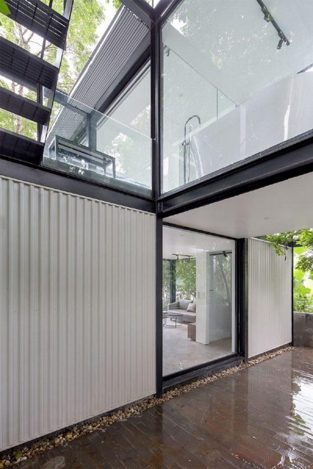 บ้านโครงสร้างเหล็ก เมทัลชีท กระจก